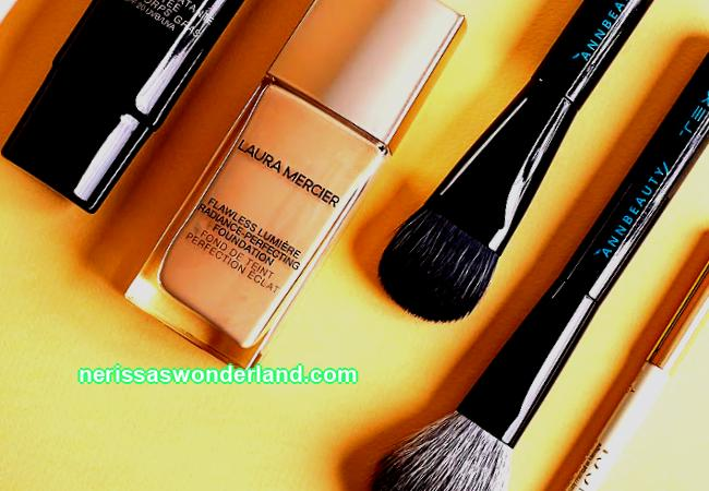 To whom and why: Laura Mercier tonal, Annbeauty brushes; Techno; and Gucci lip pencil